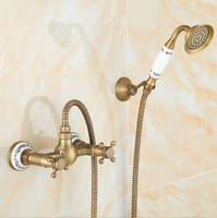 Vintage Antique Brass Design Bathroom Shower Faucet Set Wall Mounted Luxury Ceramics Shower Dual Handle Bath