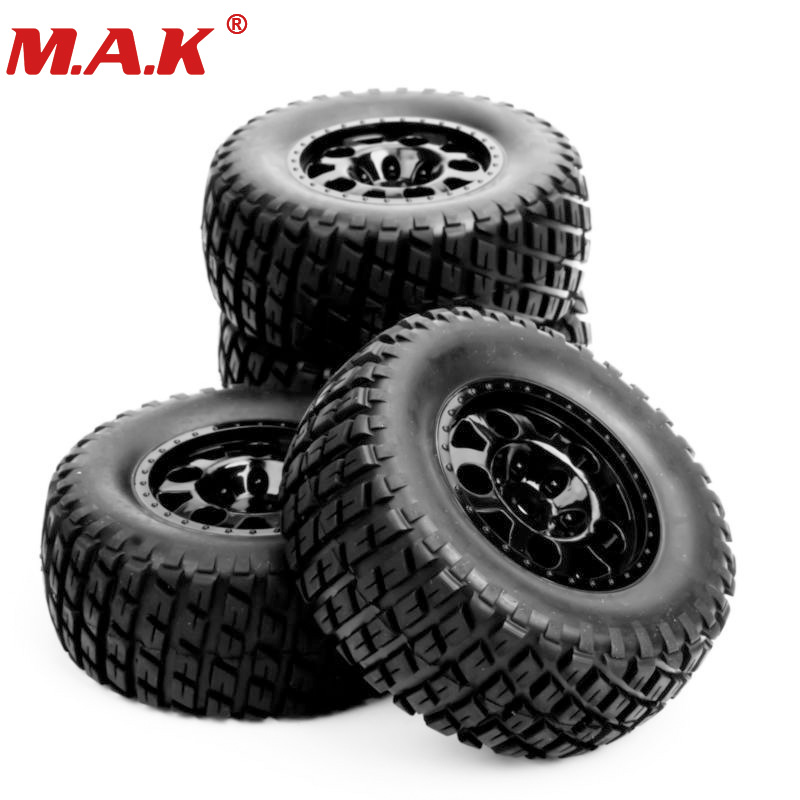 Rc Wheel 1:10 Short Course Truck Opony Set 1/10 Tire Wheel Hub 4 pcs / Set For Traxxas Slash Opony HPI on the field Części samochodowe