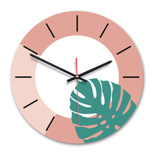 Ins creative wall clock living room home decoration Nordic green plant hangings