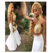 2016 Sexy Zwei Stücke Weiß Lange Abendkleid Mit Gold perlen Satin Foraml Evening Kleid Benutzerdefinierte vestido de festa gala jurken
