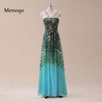 Real Image Ombre Leopard Prom dresses Party Bridesmaid dresses with Halter Strap Open Back Blue