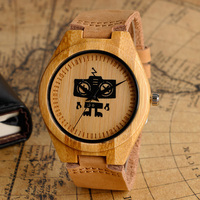 Novel WALL E Eve Robot Radio Dial Fashion Casual Quartz Analog Bamboo Wood Leather Strap Watch