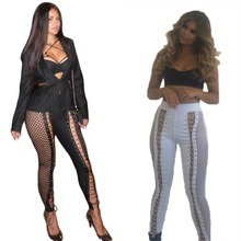 European station bodysuit women hollow rompers women jumpsuit black white legging women playsuit J1200
