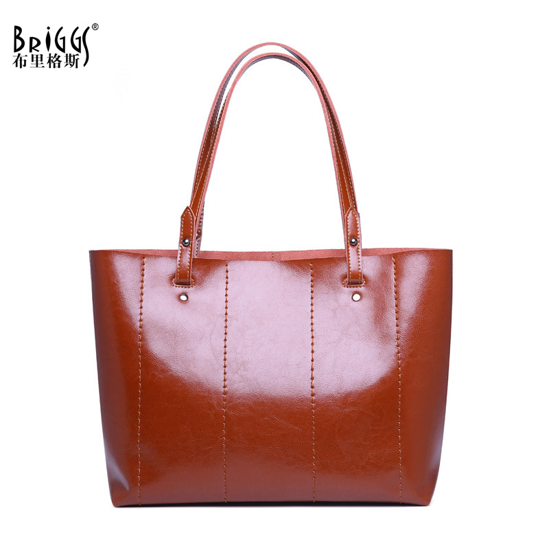 BRIGGS Women Handbag Genuine Leather Shoulder Bag Famous Brand Design Women Bags Vintage Crossbody Bag For Women Casual Tote eyoyo ey 002s wireless 2d scanner 1d 2d pdf417 qr code pocket wireless barcode scanner for android ios mac windows