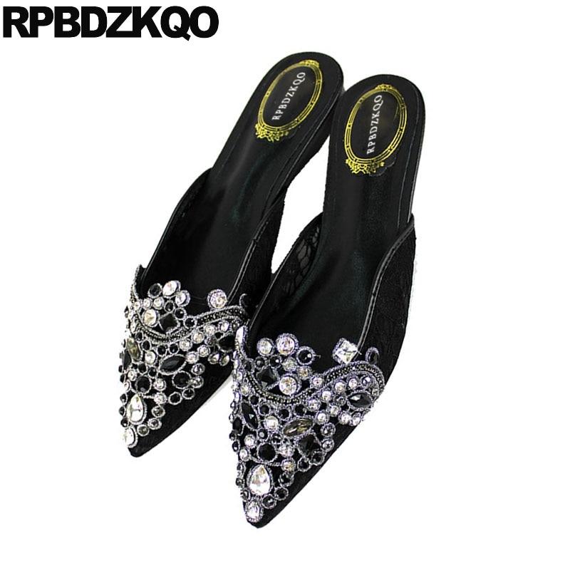 Negro Marca Diseño Diamante Otoño De Diapositivas Lujo Crystal 2018 Rhinestone Boda Estrecha Sandalias Zapatillas Punta Mujeres Zapatos HZq1RR