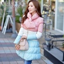 dabuwawa Fashion 2016 Brand Winter Thickening Pink Blue White Plus Size Elegant Long Women Down Jacket Wholesale