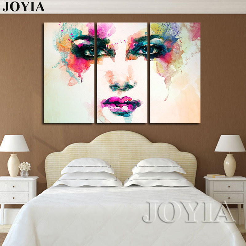 3 Piece Canvas Picture Watercolor Paintings Color Face Art Wall Painting Ideas Living Room Bedroom Hall Home No Frame With Free Shipping Worldwide Weposters Com