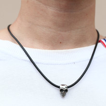Mcllroy necklace men/leather/stainless steel/black/anchor/skull/necklaces & pendants women men jewelry kolye erkek valentine(China)