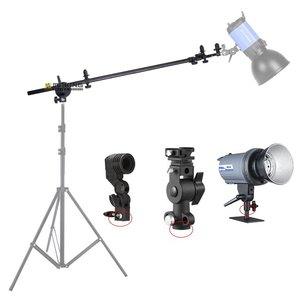Image 3 - Suporte de suporte cabeça giratória refletor disco braço suporte com telescópico braço lança luz superior saco de areia para speedlite mini flash strobe