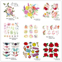 (20 Styles) Flowers Iron on Heat Transfer Patches for Kids Clothing DIY Stripe Applique T-shirt A-level Washable Custom Stickers