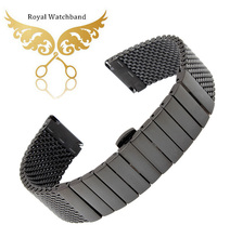 20mm 22mm Black Stainless Steel Mesh Watch Band Wire Flat Strap