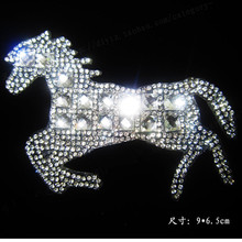Free shipping (2pcs/lot) Horse icon rhinestones hot fix rhinestone iron on transfer designs