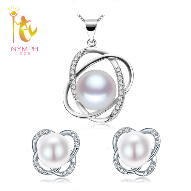 [NYMPH] Natural Pearl Jewelry Sets 925-Sterling-Silver Jewelry Trendy Real Fresh Water Rearl Necklace Pendant Earrings ST12