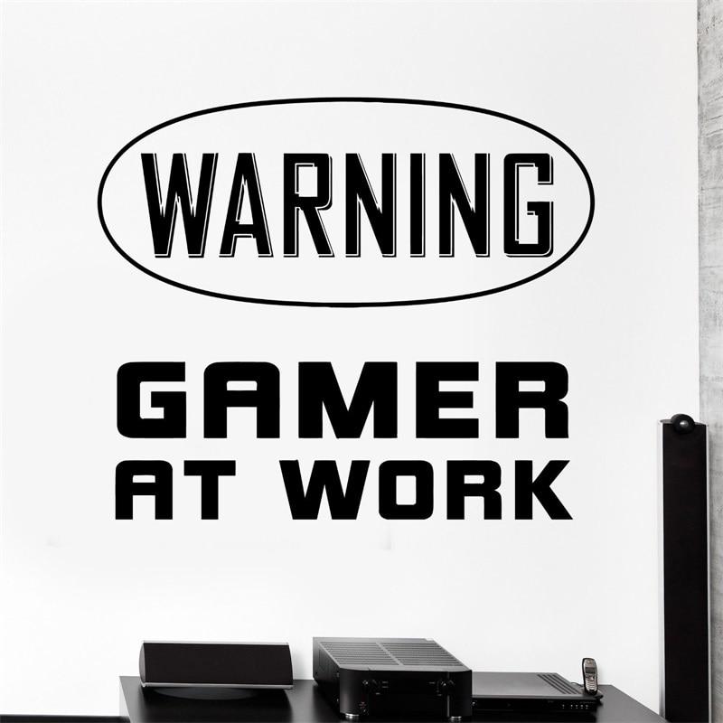 Наклейка на стену игровой Предупреждение геймер на работе знак виниловая наклейка