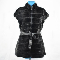 2018mink fur leather vest water mink vest fashion thin warm ladies slim belt European and American style Russian autumn and win