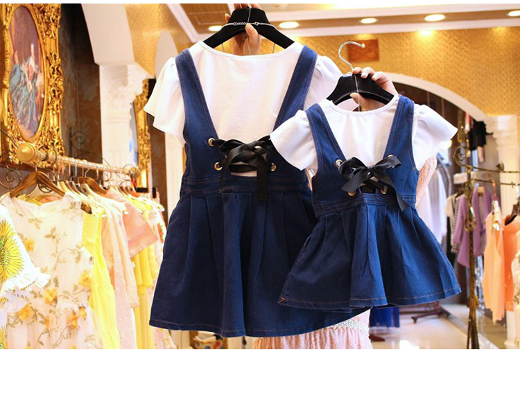 one piece price no necklace mother and daughter fashion white shirt denim suspender dress suit