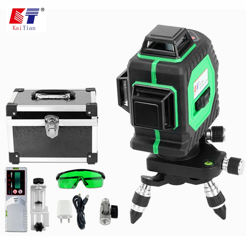 купить KaiTian Laser Level 3D Green 12Lines Receiver Self-Leveling 360 Horizontal 532nm Vertical Cross Livello Laser x Beam Line Levels по цене 13192.27 рублей