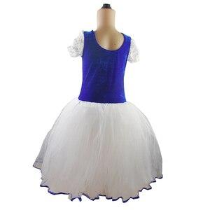 Image 4 - New Romantic Tutu Giselle Ballet Costumes Girls Child Velet Long Tulle Dress Skate Ballerina Dress Short Sleeve Lace Dress
