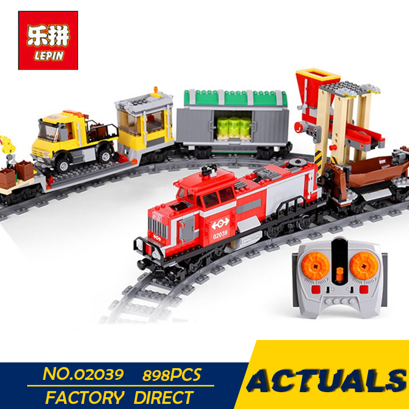 LEPIN 02039 898Pcs New City Series Red Cargo Train Set Children Building Blocks Brick Educational Children Toys Model 3677 new building blocks ninja emmet wyldstyle sheriff gordon zola bad cop robo swat brick toys for children l009 016