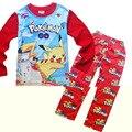 Весна осень POKEKON GO мальчика одежда устанавливает Детские Наборы хлопка мальчик спортивные костюмы Дети спортивные костюмы мультфильм пальто/толстовки + брюки