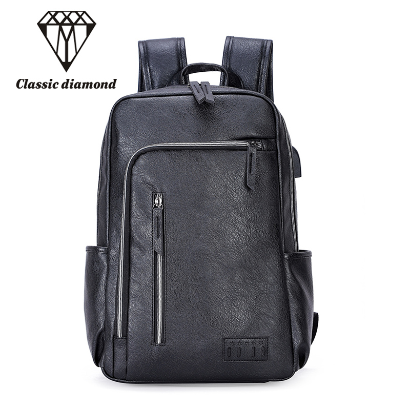 Hot Men Backpacks PU Leather Waterproof Daypack Men s Travel Bag Fashion  Backpack Casual Business Backpack for 14 Inch Laptop 513570d28a6f1
