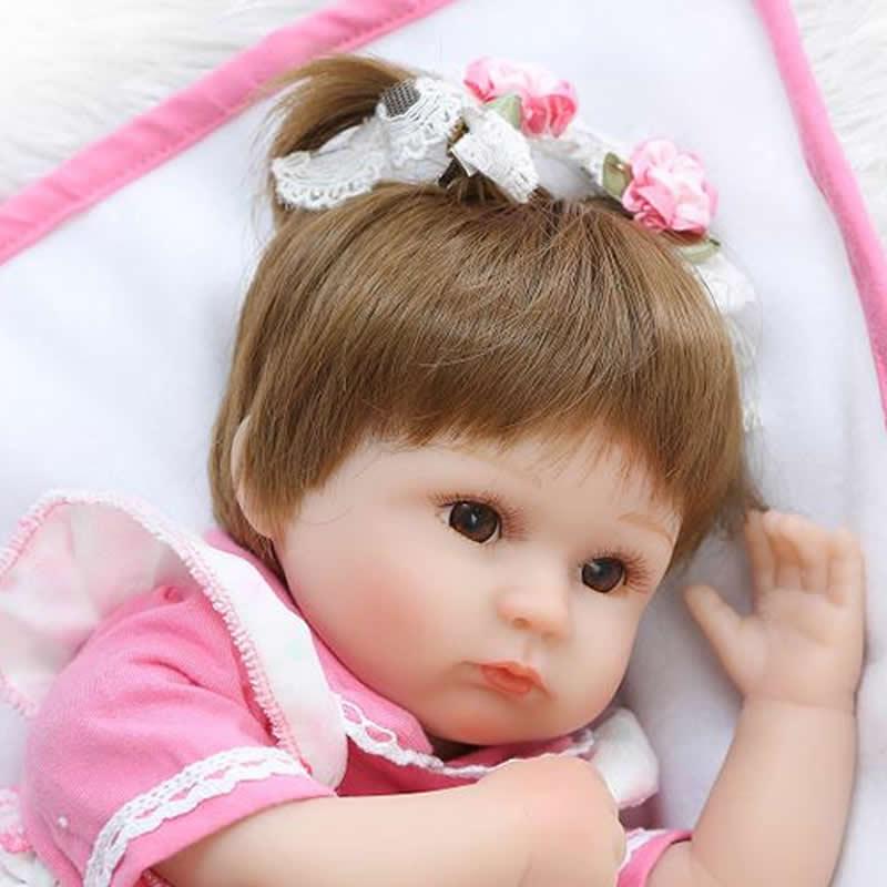 Kan zitten en liegen 17 Inch herboren pasgeboren Bay Doll zachte - Poppen en knuffels - Foto 4