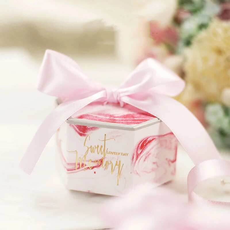 Creative Hexagonal shape Pink Marble style Candy Boxes Wedding Favors Party Bomboniera Giveaways Gift Box with