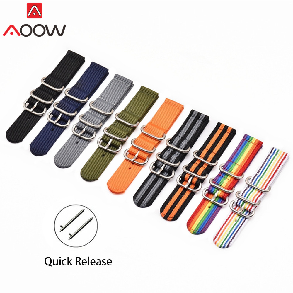 NATO Nylon Watchband 18mm 20mm 22mm 24mm Ring Buckle For DW Canvas Strap Quick Release Replace Bracelet Watch Band Accessories
