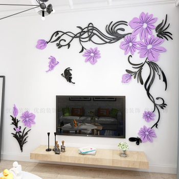 Creative flower 3D stereo acrylic wall sticker background warm decoration Large Size Mural Home Decor Living Room Wall Decals 9