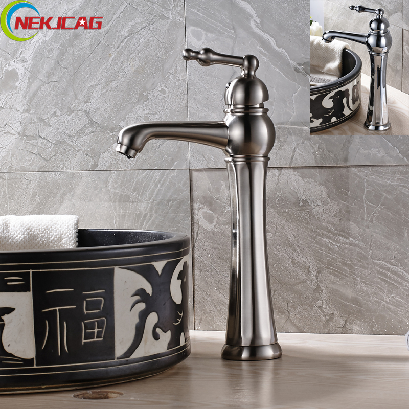 Newest Tall Waterfall Brushed Nickel Bathroom Basin Sink Faucet Single Handle Mixer Tap Chrome Finish Free Shipping contemporary chrome finish single handle bathroom sink faucet silver