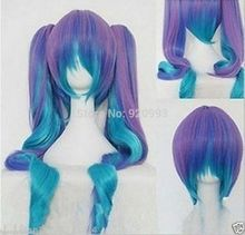 FREE SHIPPING ****@@** Gothic Lolita Wig + 2 Pig Tails Set Pastel Rainbow Blend Cosplay wig wigs