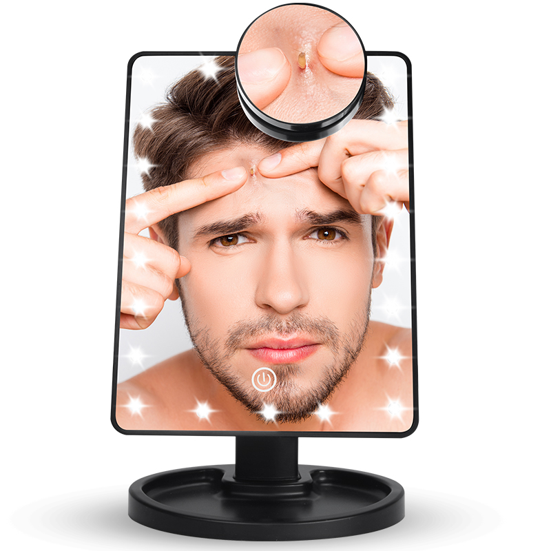 Led Mirror Makeup Mirror With Light Vanity Mirror 10x Magnifying 22 Led Lights Touch Screen Makeup Mirror