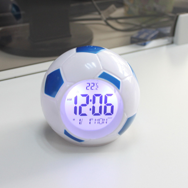 Europe Style Plastic LED Football Alarm Clocks With Backlight Time Calendars Luminova Digital Clock Modern Snooze Function Seet