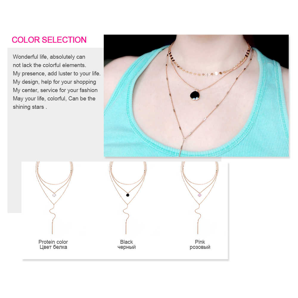 e-Manco Three Layers Choker Necklaces For Women Crystal Charm Long Statement Necklace Femme Gift Women Accessory Fashion Jewelry
