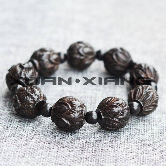 Прямая поставка мужские деревянные браслеты в форме Будды лотоса