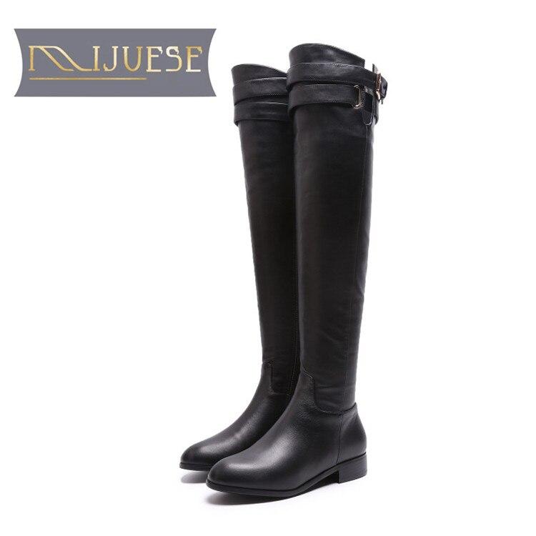 MLJUESE 2019 النساء فوق الركبة الأحذية جلد البقر مشبك حزام الشتاء أسود اللون قصيرة أفخم عالية أحذية النساء الأحذية حجم 34 42-في أحذية فوق الركبة من أحذية على  مجموعة 1