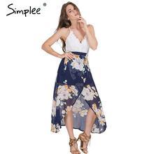 Simplee Одежда Сексуальная печати кружева летнее платье Ремень глубокий v шеи высокая талия пляж платья женщины 2016 новый разрез спинки длинное платье