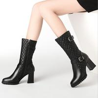 2018 winter new women's cow leather plaid pattern mid calf boots female round head buckles high heels genuine leather boots