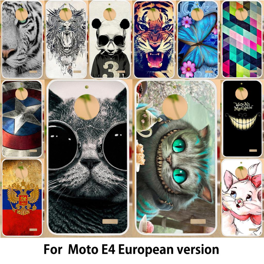 Anunob Hard PC Soft TPU Case For <font><b>Motorola</b></font> Moto <font><b>E4</b></font> <font><b>XT1762</b></font> XT1766 XT1763 Moto E (4th Gen.) European Version Covers Painted Shell image