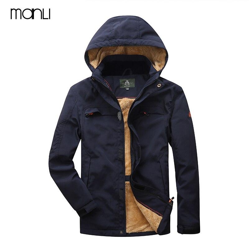 MANLI Men's Winter Inner Fleece Outdoor Waterproof Jackets Camping Hiking Jackets Warm Male Hooded Coats Men Army Jacket Size4XL