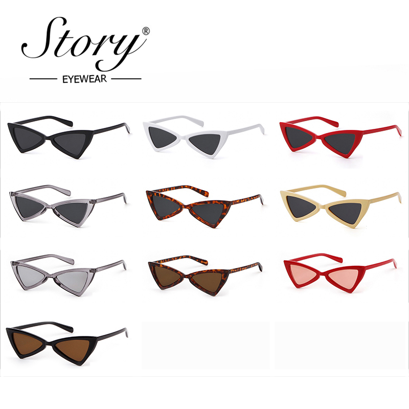d1d9d08f9ebe7 STORY Vintage Retro Small Triangle Cat Eye Sunglasses Women Fashion Slim  Frame Cateye Sun Glasses Black Shades Mirror UV400-in Sunglasses from  Apparel ...