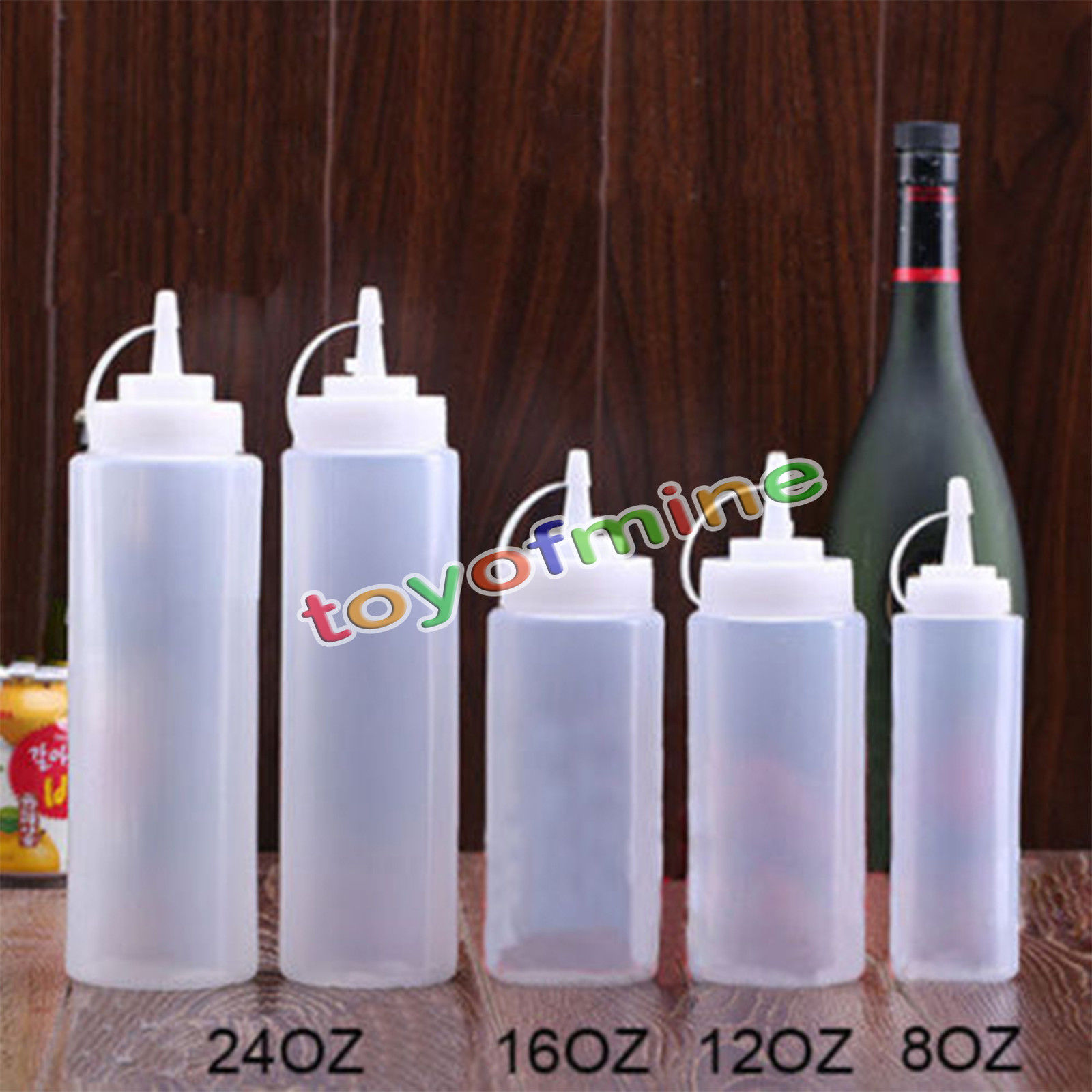 8 12 16 24oz New Kitchen Plastic Squeeze Bottle Condiment