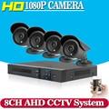Sistema de Video Vigilancia CCTV 8CH HD 2MP HD 1080 P HD AHD Kit DVR 4*1080 P Seguridad Al Aire Libre Sistema de cámara 1 TB
