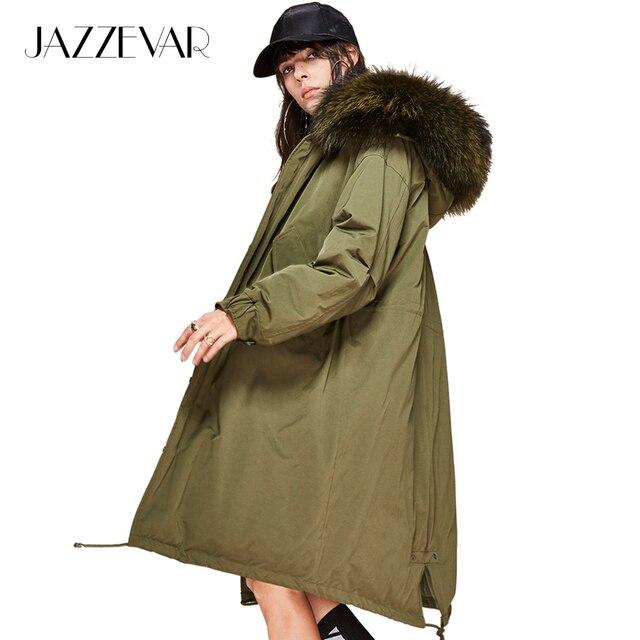 Jazzevar Новый Мода 2017 Зима Для женщин 90% Белая куртка с утиным пухом oversize длинное пальто большой из натурального меха енота парка с капюшоном