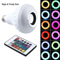 Wireless Bluetooth Speaker 12W RGB Bulb E27 LED Lamp 100 240V 110V 220V Smart Led Light