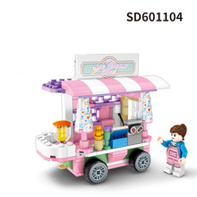 SEMBO City Walking Street View Friends Creator Flower Sale Store Ice Cream Truck Buildings Blocks kids Educational Toys