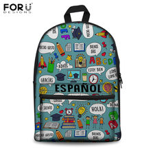 FORUDESIGNS School Backpacks German/Spanish/French Teacher Pattern School Shoulder Rucksack for Students Casual Laptop Backpack(China)