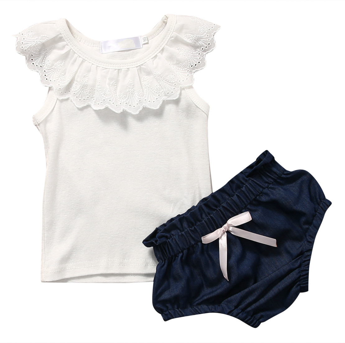 2PCS Summer Lovely Kids Girls Clothes Sets Toddler Kids Baby Girl Outfits Short Sleeve T-shirt Tank Tops Shorts Pant Clothes Set