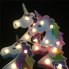 Mini 3D LED Night Light Painted Unicorn Cartoon Night Lamp Luminaria Romantic Bedroom Decor Night Lamp Baby Kids Gift Led