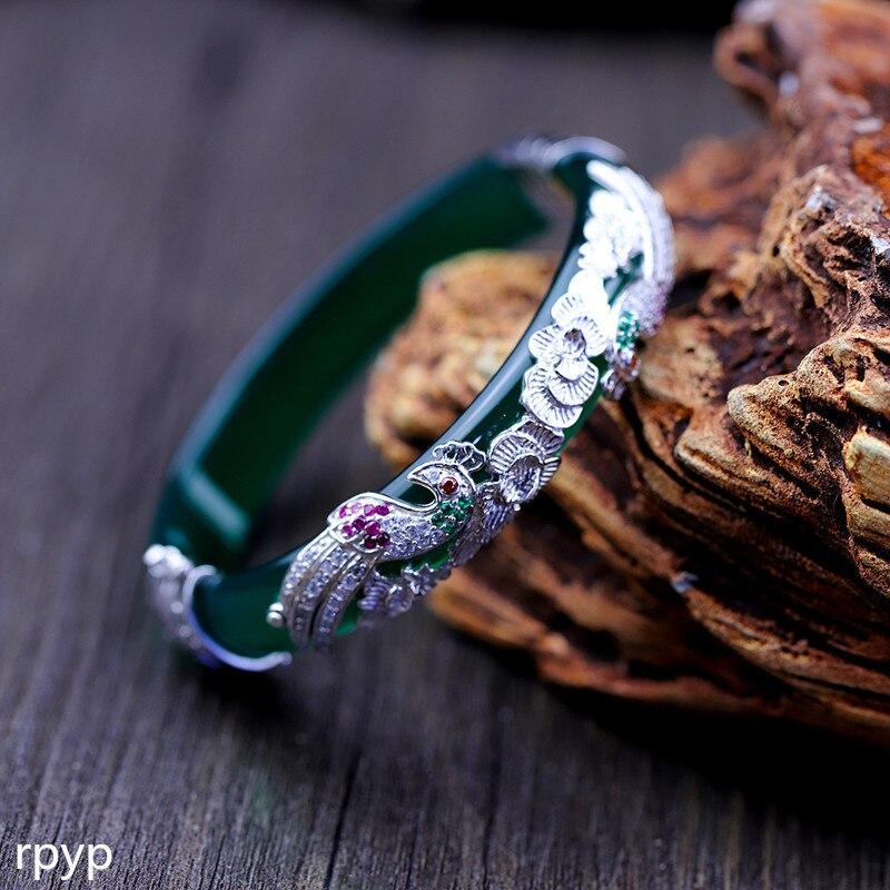 KJJEAXCMY Fine jewelry S925 sterling silver jewelry accessories wholesale folk breeze lady peacock Live Green Agate